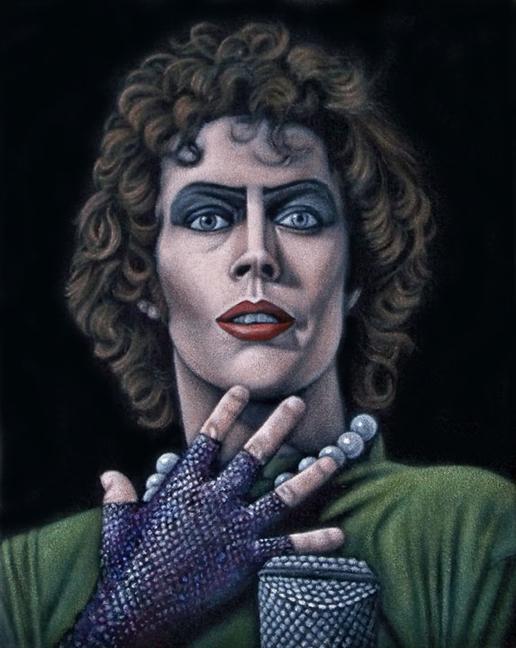 Frank Furter Rocky Horror black velvet painting