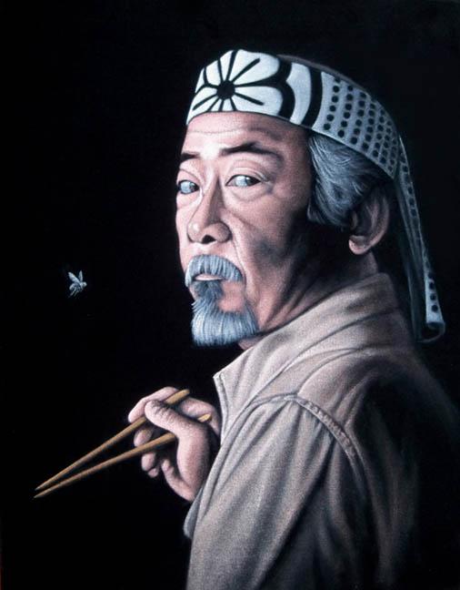 karate kid cobra kai miyagi black velvet painting