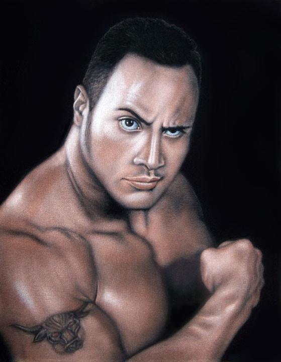 rock dwayne johnson velvet painting