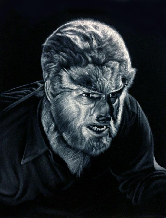 black velvet painting Wolf man