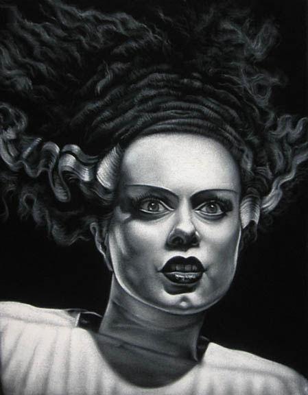 bride frankenstein black velvet painting
