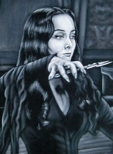 morticia velvet painting