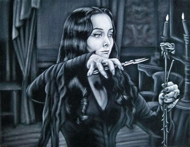 morticia Addams black velvet painting