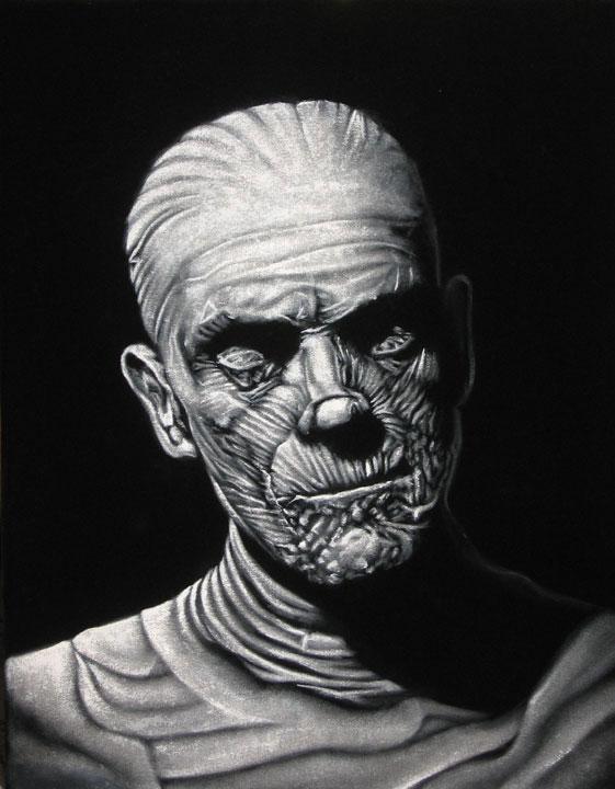 mummy universal monsters black velvet painting