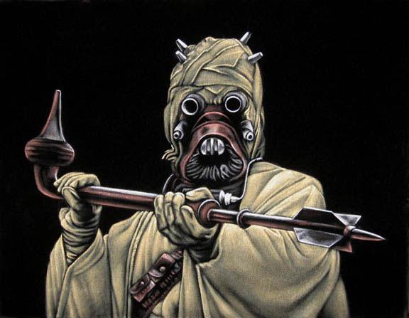 Tusken Raider Star Wars black velvet painting