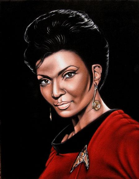 uhura star trek black velvet painting