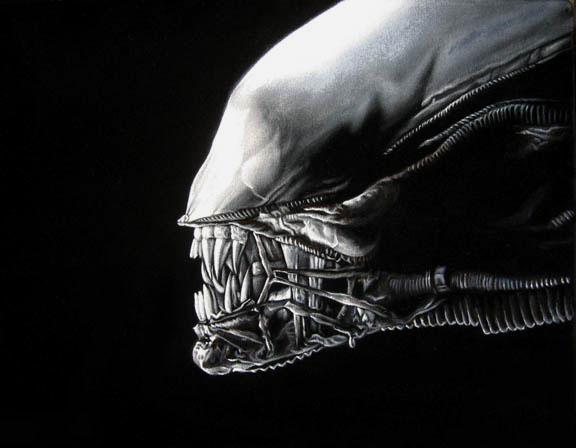 black giger velvet painting alien