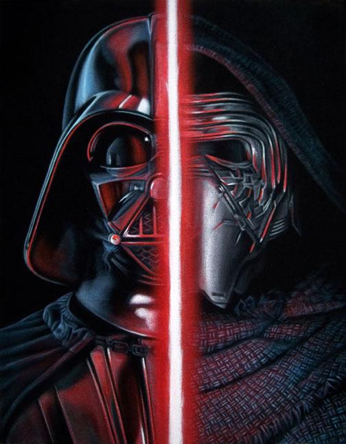 velvet painting dark side vader kylo