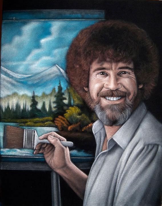 black velvet painting Bob Ross happy trees