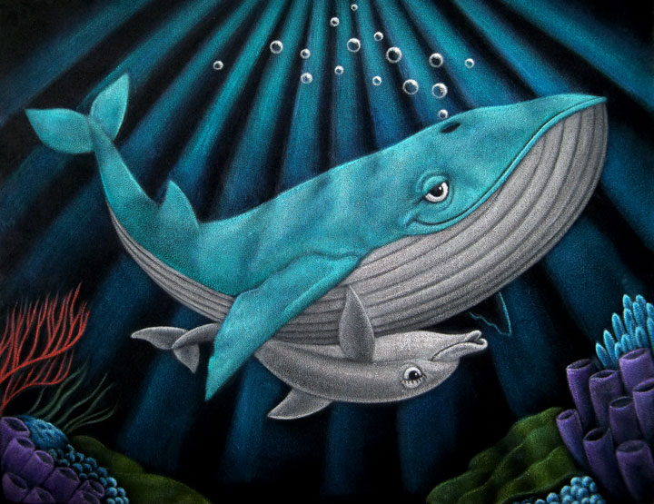 velvet painting whale and dolphin