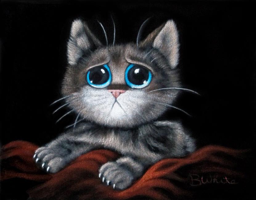 sorrowful kitten velvet painting