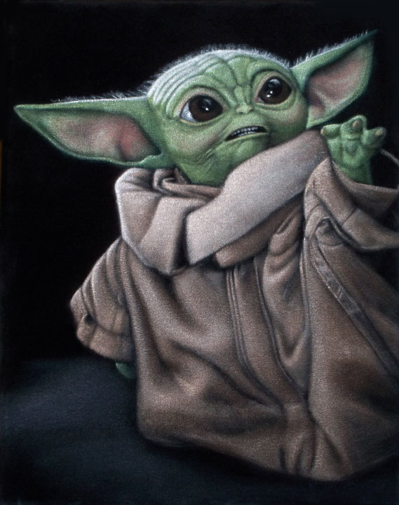 The-Child-baby-yoda-black-velvet-painting