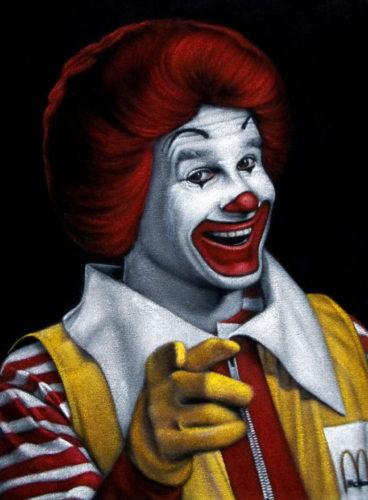 Ronald-McDonald black velvet painting
